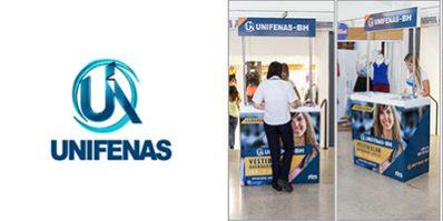 Ação de divulgação da UNIFENAS na Feira Shop - Merchandising na Feira Shop