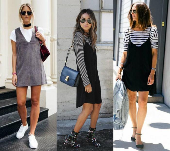 Sobreposição de camiseta com vestido é tendência