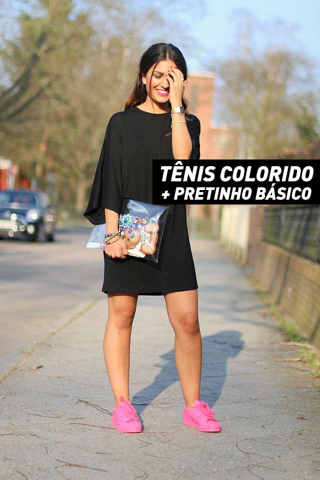 tênis colorido e pretinho básico
