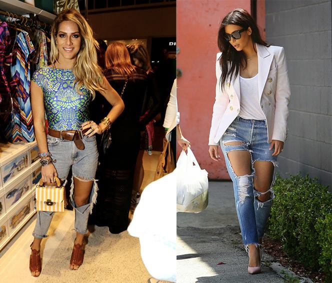 Para um visual mais elegante, aposte na combinação jeans destroyed + salto alto, já para um visual rocker, abuse das camisetas e tênis. Inspire-se nas famosas!