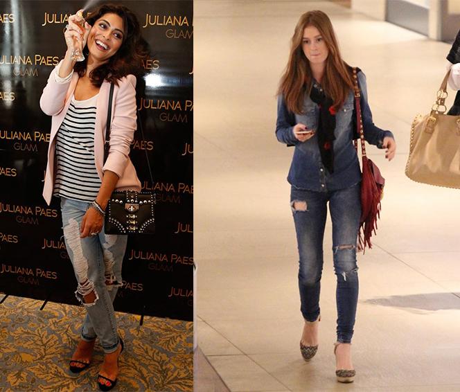 O jeans destroyed continua sendo um jeans tradicional, mas os rasgados dão um toque a mais de personalidade e atitude no look do dia.