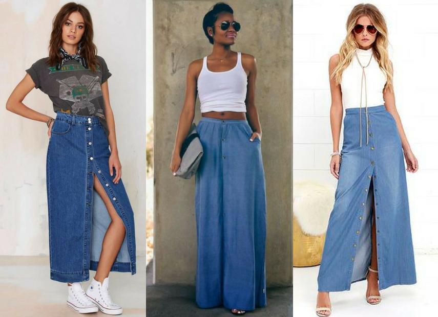 Saia jeans maxi