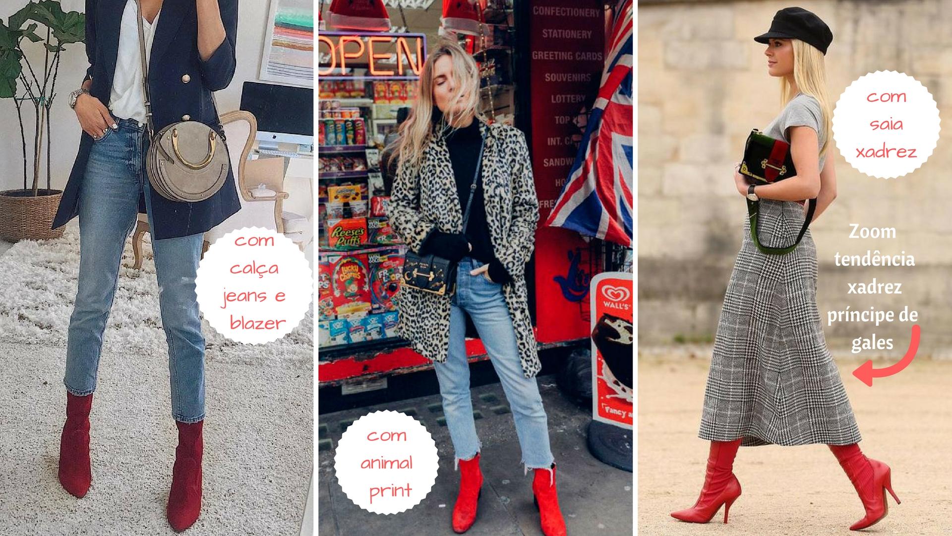 Combine suas botas vermelhas com diferentes Looks