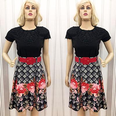 Look blusa e saia estampada   Amanda Bela Modas