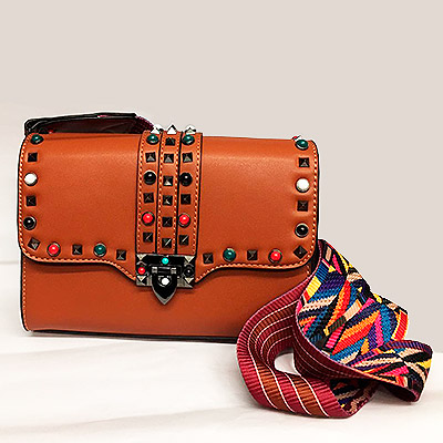 Bolsa de couro alça colorida | Bella Bolsas