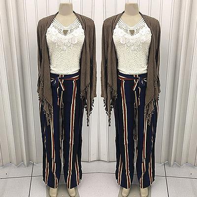 Look echarpe, blusa e calça envelope | Ceceli Modas