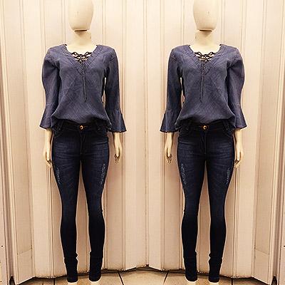 Blusa manga sino e calça jeans | Chicago Jeans Deluxe
