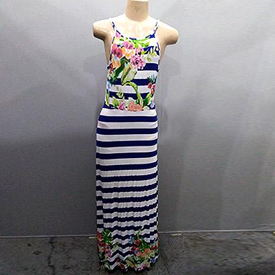 Vestido longo listrado | Cida Pessoa Moda Feminina