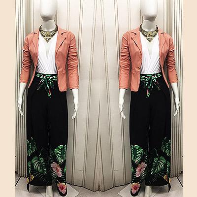 Look jaqueta, blusa transpassada e calça pantalona | Espaço Nina