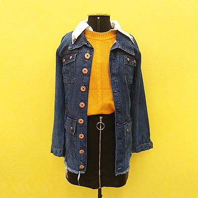 Blusa, saia e jaqueta jeans | Garimpei