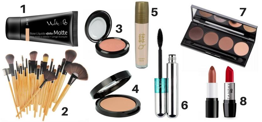 Kit básico de maquiagem 8 itens indispensáveis