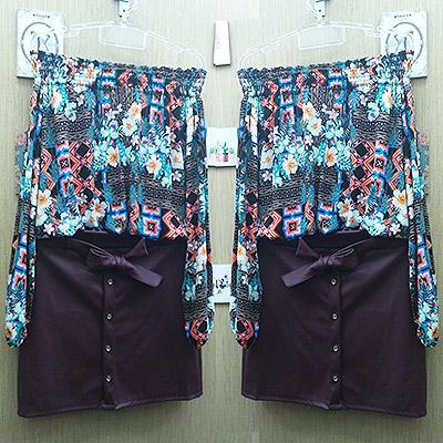 Look blusa ombro a ombro e saia | La Vie