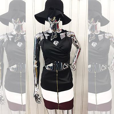 Cropped e saia couro sintético | Madame Sá Boutique