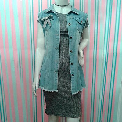 Vestido canelado e colete jeans | Cheia de Charme