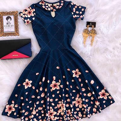 Vestido floral | Fina e Bela Moda Evangélica