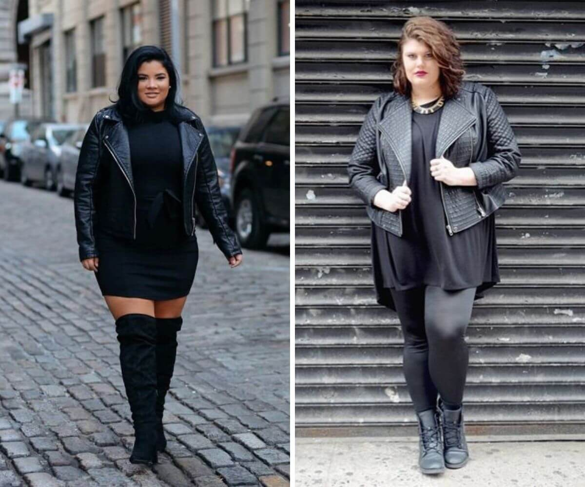 Look rock plus size com vestido preto