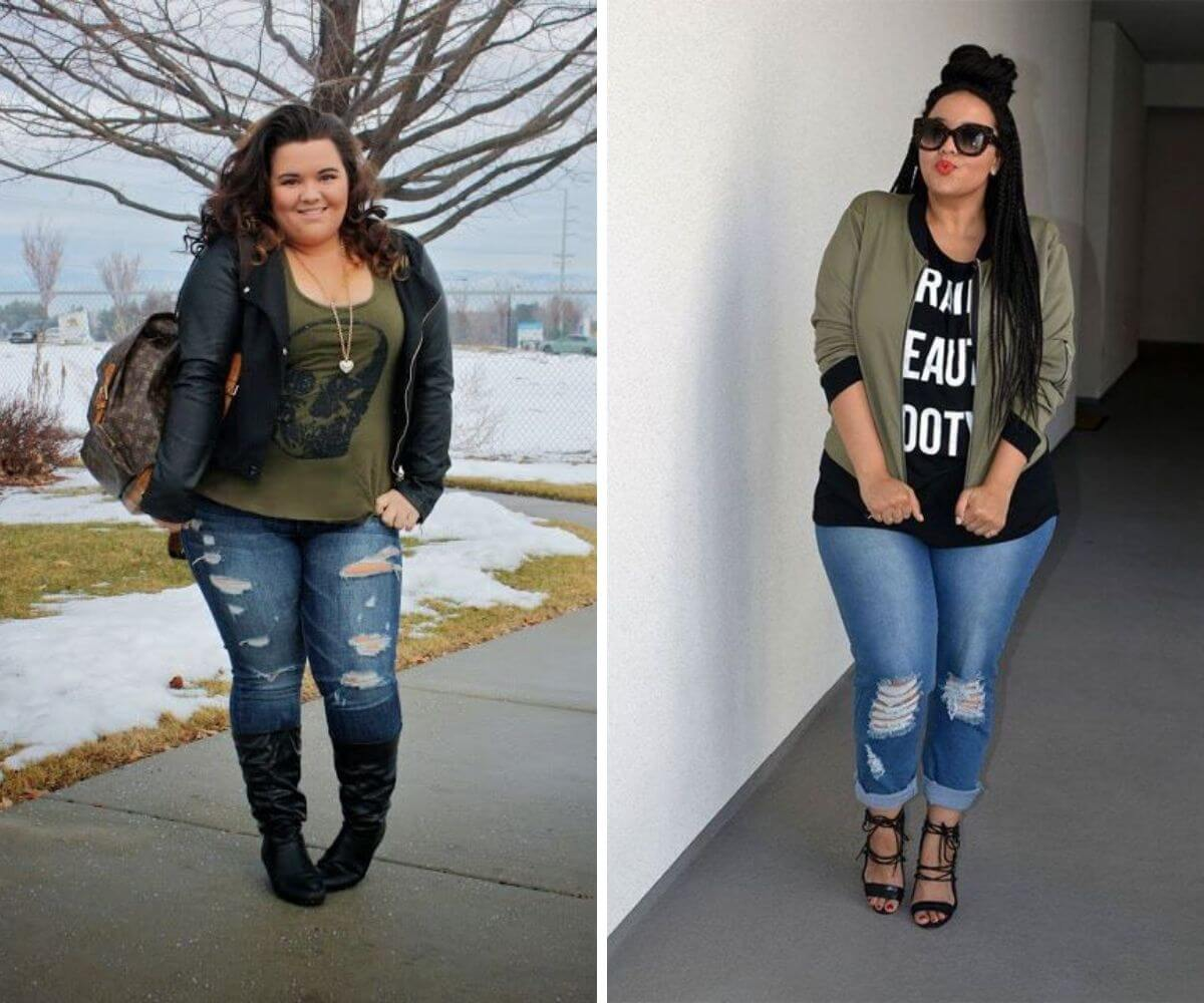 Look rock plus size com calça jeans