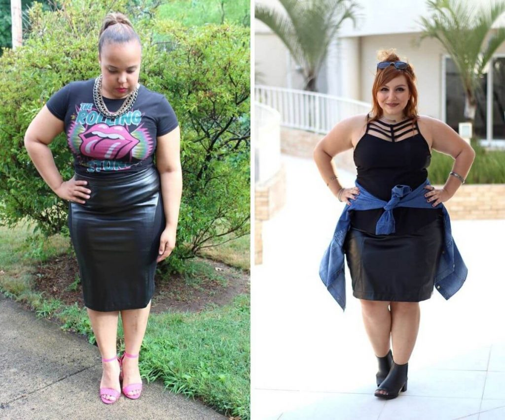Look rock plus size com saia justa