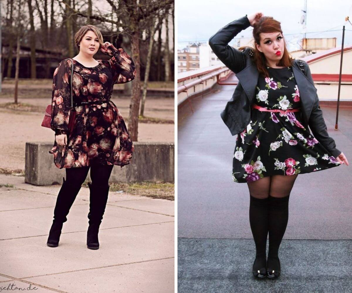 Look rock plus size com vestido florido