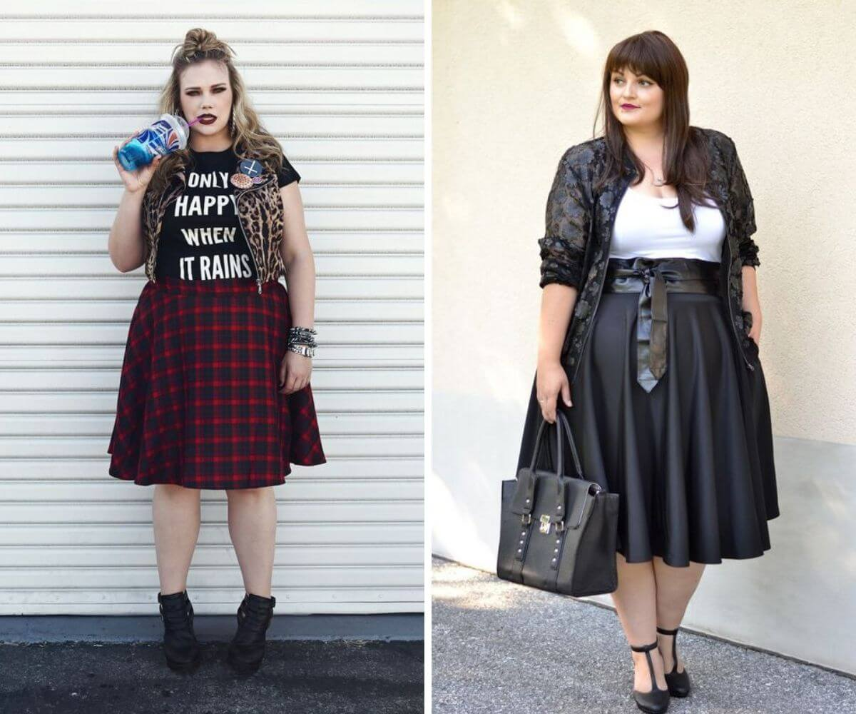 Look rock plus size com saia ampla