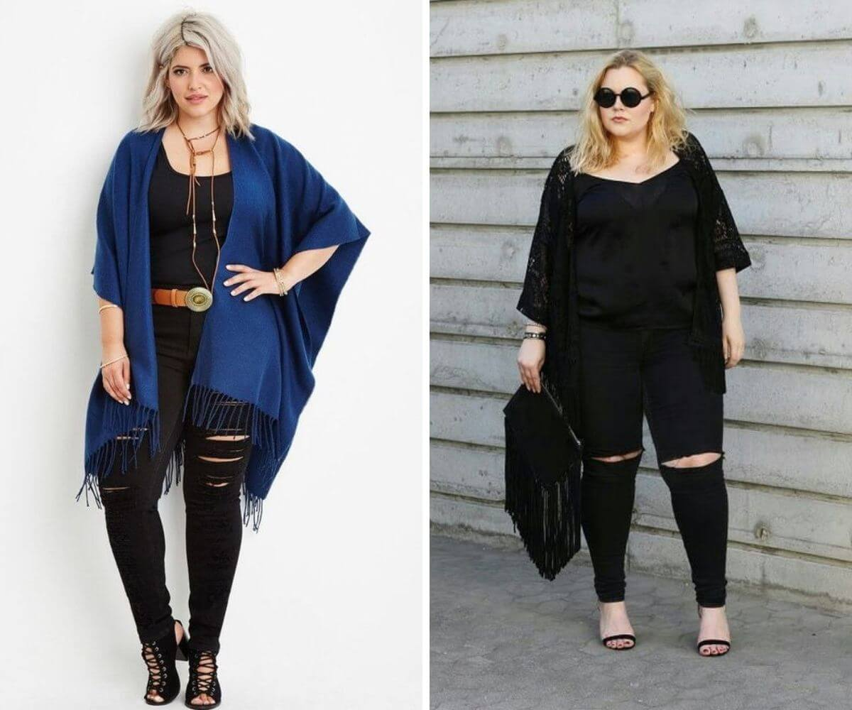 Look rock plus size com calça destroyed