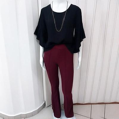 Blusa viscose e calça crepe flare | Puro Charme Mulher