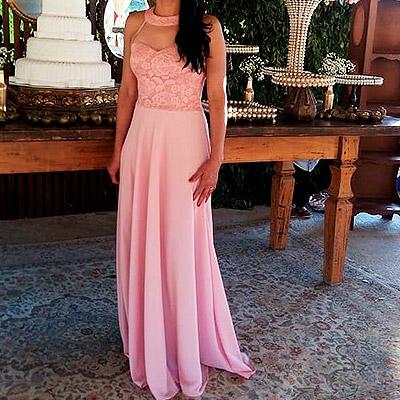 Vestido longo detalhe renda | Rogéria Modas