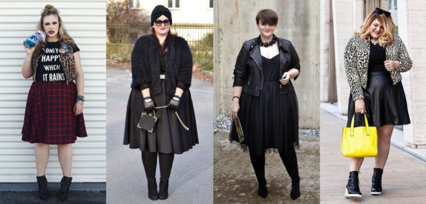 Looks rocker plus size com saia ampla