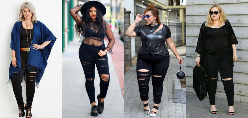Looks rocker plus size com calça destroyed