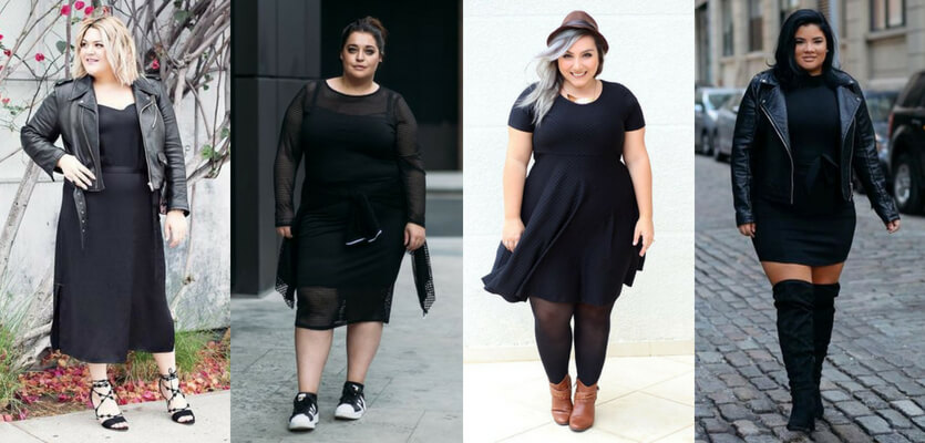Looks rocker plus size com vestido preto