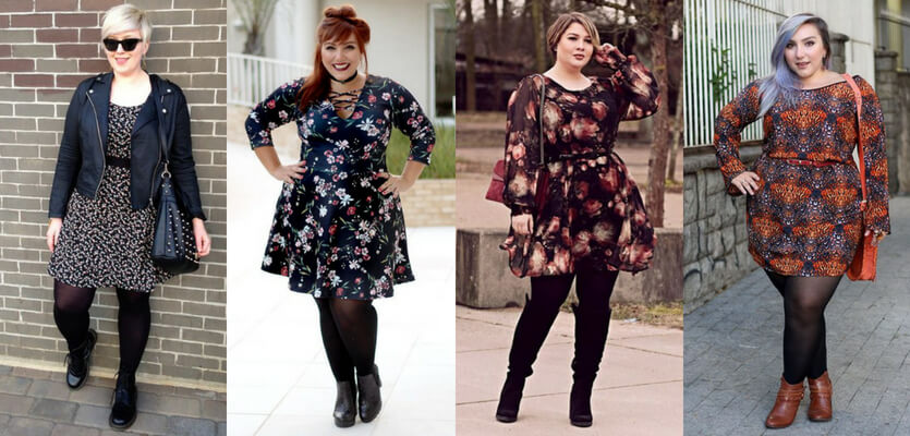 Looks rocker plus size com vestido estampado