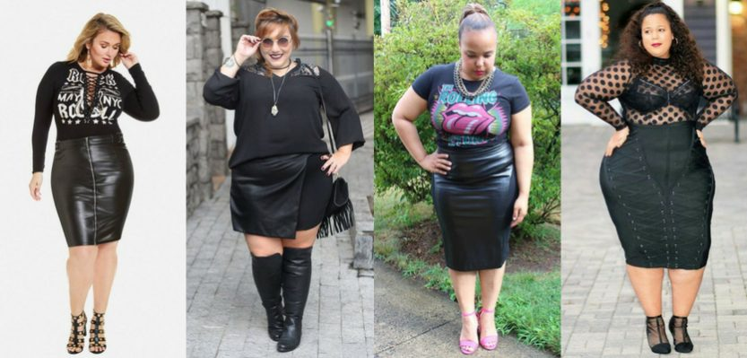 Looks rocker plus size com saia justa