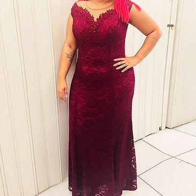 Vestido longo de renda | Lilás Modas