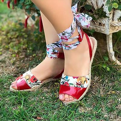 Sandália amarração floral | Namitala Calçados