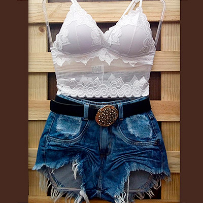 Body rendado e short jeans | Soberana