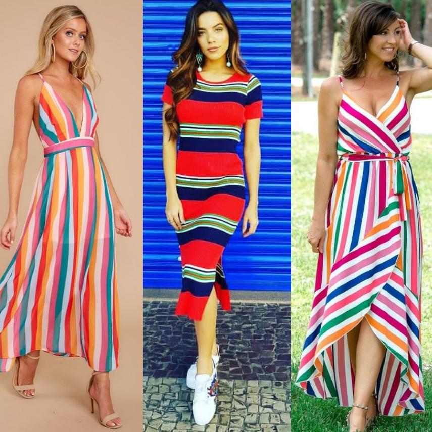 Listras Coloridas Vestido Feira Shop