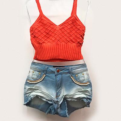Cropped e short jeans   Closet Maria Bonita