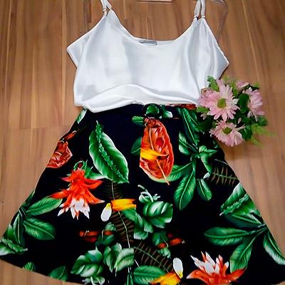 Regata e short floral   Doralina Moda Maior