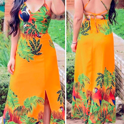 Vestido tropical crepe | Milla Modas