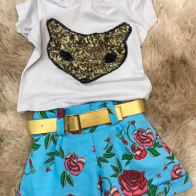 Blusa e short floral infantil | Mundo Infantil