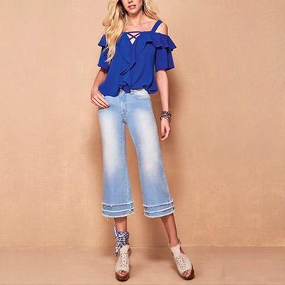 Calça Feminina Pantacourt Jeans | KSF Modas