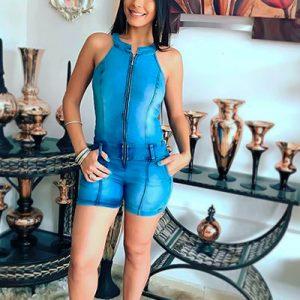 Macaquinho Feminino Jeans Com Zíper | Mania Feminina