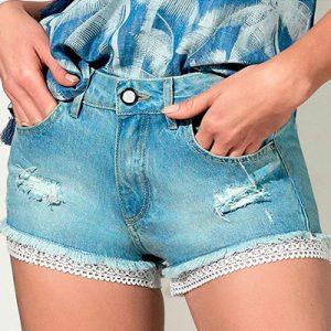 Short Jeans Feminino Detalhes em Renda | KSF Modas