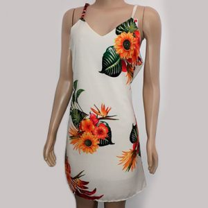 Vestido Branco com Estampa Floral | KSF Modas