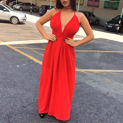 Vestido Vermelho Longo Com Decote V   Espaço Feminino Barreiro