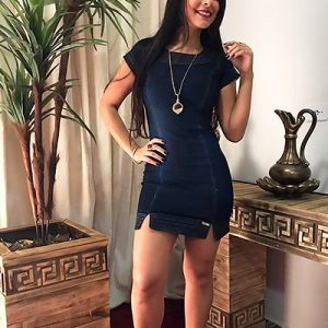 Vestido Jeans Feminino Azul Escuro | Mania Feminina