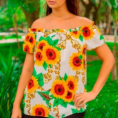 Blusa Ciganinha com Estampa de Girassol | Atual Moda Fashion