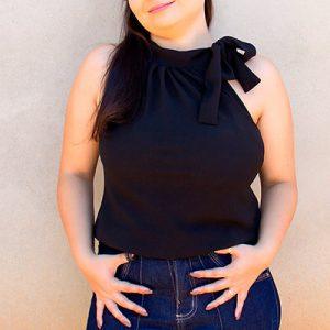 Blusa Feminina com Amarração na Gola | Rosa Katrina