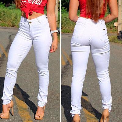 Calça Jeans Feminina Branca Cós Alto | Amorim Modas