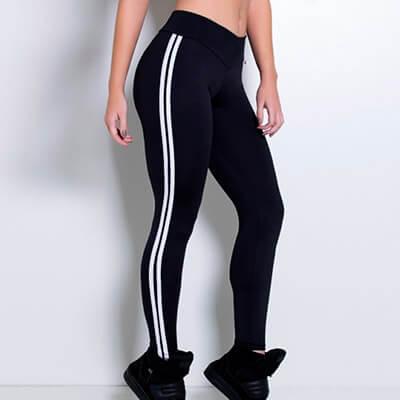 Calça Legging Preta com Listras | Absoluta Moda Fitness